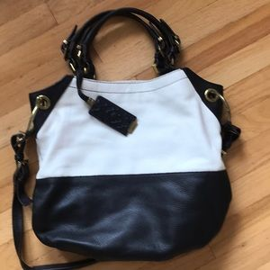Black and white oversized leather bag